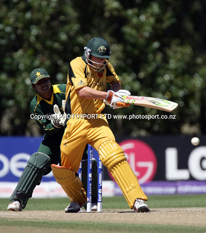 Australian Tom Triffit pulls. Pakistan Wicketkeeper is Mohammad Waqas. Australia v Pakistan, U19 Cricket World Cup Final, Bert Sutcliffe Oval, Lincoln, Christchurch, Saturday 30th January 2010. Photo : PHOTOSPORT