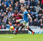 7th April 2018, Ibrox Stadium, Glasgow, Scotland; Scottish Premier League football, Rangers versus Dundee; Roarie Deacon of Dundee Roarie Deacon of Dundee and Greg Docherty of Rangers