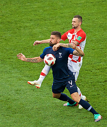 MOSCOW, RUSSIA - Sunday, July 15, 2018: France's Olivier Giroud and Croatia's Marcelo Brozović during the FIFA World Cup Russia 2018 Final match between France and Croatia at the Luzhniki Stadium. (Pic by David Rawcliffe/Propaganda)