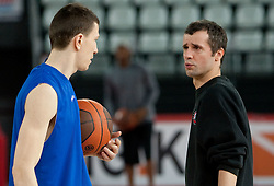 Vlado Ilievski and Assistant coach of Olimpija Miro Alilovic during practice session of basketball club KK Union Olimpija day before Euroleague Top 16 Round Match vs Lottomatica Roma, on January 19, 2011 in Arena PalaLottomatica, Rome, Italy. (Photo By Vid Ponikvar / Sportida.com)