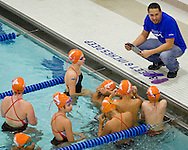 Middletown, New York -The YMCA of Middletown Barracudas swim team warms up befre a meet at Middletown High School on  Nov. 8, 2014.