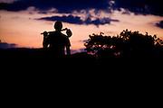 Domingos Martins_ES, Brasil...Silhueta de um trabalhador rural da regiao em um trecho da Rota imperial da Estrada Real, antiga estrada de Dom Pedro de Alcantra...A farmhand silhouette in the Ancient Rota Imperial, know as Dom Pedro de Alcantara Road...Foto: LEO DRUMOND / NITRO