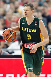 11.09.2014, City Arena, Barcelona, ESP, FIBA WM, USA vs Litauen, Halbfinale, im Bild Lithuania's Renaldas Seibutis // during FIBA Basketball World Cup Spain 2014 semi-final match between United States and Lithuania at the City Arena in Barcelona, Spain on 2014/09/11. EXPA Pictures © 2014, PhotoCredit: EXPA/ Alterphotos/ Acero<br /> <br /> *****ATTENTION - OUT of ESP, SUI*****