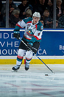 KELOWNA, CANADA - MARCH 14: Gordie Ballhorn #4 of the Kelowna Rockets skates with the puck against the Prince George Cougars  on March 14, 2018 at Prospera Place in Kelowna, British Columbia, Canada.  (Photo by Marissa Baecker/Shoot the Breeze)  *** Local Caption ***
