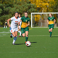 3rd year forward Brianna Wright (7) of the Regina Cougars in action during the Women's Soccer home game on October 2 at U of R Field. Credit: Arthur Ward/Arthur Images