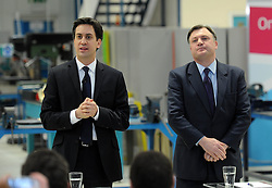 Ed Milliband with Ed Balls visits the Bedford Training Group to give a speech on Labours One Nation Labour Agenda, Bedfordshire, UK, February 14, 2013.  Photo by Matthew Power / i-Images.