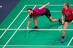 Michiel Kruijt and Tamara van der Hoeven in action during the Dutch Championships Badminton on February 2, 2020 in Topsporthal Almere, Netherlands