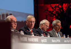 BRUSSELS, BELGIUM - AUGUST-6-2007 - .Chairman of the Fortis Board of Directors, Count Maurice Lippens, Fortis Chief Executive Officer, Jean-Paul Votron, Fortis Chief Financial Officer Gilbert Mittler and Executive Member of the Fortis Board of Directors, Herman Verwilst, wait for the start of an extraordinary shareholders meeting at the Bozar Center in Brussels, Monday August 6, 2007. (Photo © Jock Fistick)