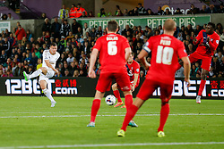 Franck Tabanou of Swansea City shoots - Mandatory byline: Rogan Thomson/JMP - 07966 386802 - 25/08/2015 - FOOTBALL - Liberty Stadium - Swansea, Wales - Swansea City v York City - Capital One Cup Second Round.