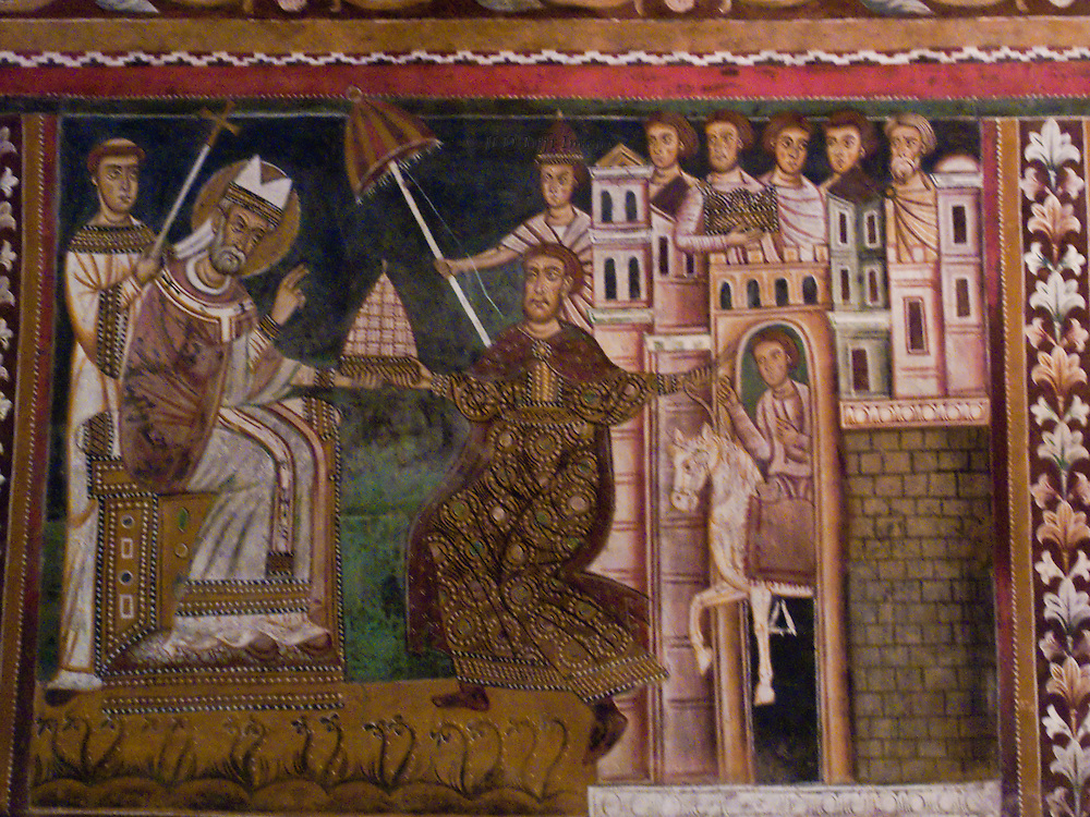 SS Quattro Coronati, chapel of St Sylvester, frescoes depicting  the legend of Emperor Constantine's cure from leprosy by Pope St. Sylvester and other miraculous events during the early pontiff's reign. They were completed and consecrated in 1246.