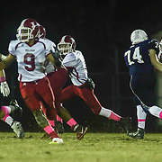Laurel quarterback Mitchell Moyer (3), CENTER, rushes for extra yardage during a Week 8 DIAA football game between Laurel and Delaware Military Academy Saturday, Oct. 29, 2016, at Baynard Stadium in Wilmington.