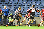 Duhan van der Merwe runs home Edinburgh's first try during the Guinness Pro 14 2017_18 match between Edinburgh Rugby and Munster Rugby at Myreside Stadium, Edinburgh, Scotland on 16 March 2018. Picture by Kevin Murray.