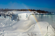 Frozen Niagara falls - Horseshoe Falls with rainbob, from the Canadian side.