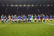 Teams meet ahead of the Ladbrokes Scottish Premiership match between Hibernian and Rangers at Easter Road, Edinburgh, Scotland on 19 December 2018.