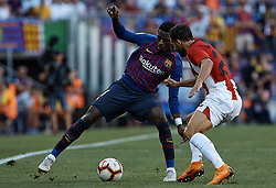 September 29, 2018 - Barcelona, Barcelona, Spain - Ousmane Dembele (L) of FC Barcelona competes for the ball with Mikel Balenziaga Oruesagasti of Athletic Club de Bilbao during the La Liga match between FC Barcelona and Athletic Club de Bilbao at Camp Nou on September 29, 2018 in Barcelona, Spain  (Credit Image: © David Aliaga/NurPhoto/ZUMA Press)