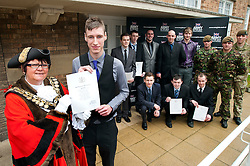 Mayor of Barnsley cllr Karen Dyson presents Oath of Allegiance certificate to Jamie Warren and (back row left to right) Dale Kirk, Rikki Cardwell, Mathew Beaumont, David Dickinson, Kane Bradbury (front Row left to right)  Ashley Brown, Daniel Crossland, Thomas Jevons With soldier from 3 Yorks the Yorkshire Regiment (left to right) Pvt David Teleyko, Cpl Kurt Dawson and Pvt Dalton Severn (correct name & spelling)<br /> http://www.pauldaviddrabble.co.uk<br /> 24 February 2012<br /> Image © Paul David Drabble