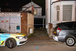 © Licensed to London News Pictures. 06/05/2020. London, UK. Police tape forms a cordon across an an alleyway on Park Road, evidence markers and a bag with unknown items sit on the ground at the rear. A Metropolitan Police officer has been assaulted after a vehicle pursuit in West Hendon. A man decamped from the vehicle and was located by an officer in an alleyway on Park Road. A struggle ensued, and the officer was seriously assaulted. The suspect fled the scene prior to police back up arriving. The man was located by police officers and arrested on suspicion of attempted murder. Photo credit: Peter Manning/LNP