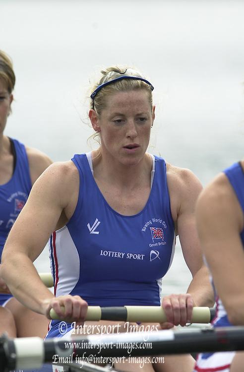 2002 FISA World Cup. Hazewinkel. BEL.       Friday  14/06/2002     .email images@Intersport-images.com.[Mandatory Credit: Peter Spurrier/Intersport Images]  .                                 /06/2002.Rowing. ..GBR W4- . Kate MACKENZIE Rowing, FISA WC.Hazenwinkel, BEL