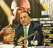 Pay-Per-View King Floyd &quot;Money&quot; Mayweather shoots for global domination with September 17 Bout.<br /> <br /> Press Conference, London, Great Britain <br /> <br /> 15th August 2011 <br /> <br /> Richard Schaefer <br /> CEO of Golden Boy Promotions<br /> <br /> with David McConachie<br /> from Primetime TV<br /> <br /> <br /> Photograph by Elliott Franks