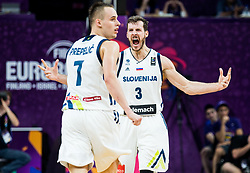 Klemen Prepelic of Slovenia and Goran Dragic of Slovenia celebrate during the Final basketball match between National Teams  Slovenia and Serbia at Day 18 of the FIBA EuroBasket 2017 at Sinan Erdem Dome in Istanbul, Turkey on September 17, 2017. Photo by Vid Ponikvar / Sportida
