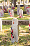 Grave markers of civil war veterans are decorated with the Stainless Banner at Elmwood Cemetery to mark Confederate Memorial Day May 2, 2015 in Columbia, SC. Confederate Memorial Day is a official state holiday in South Carolina and honors those that served during the Civil War.