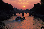 France. Paris.  bateaux mouche on the seine river in the 4th area