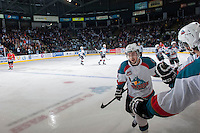 KELOWNA, CANADA - APRIL 25: Jesse Lees #2 of the Kelowna Rockets celebrates a goal against the Portland Winterhawks on April 25, 2014 during Game 5 of the third round of WHL Playoffs at Prospera Place in Kelowna, British Columbia, Canada. The Portland Winterhawks won 7 - 3 and took the Western Conference Championship for the fourth year in a row earning them a place in the WHL final.  (Photo by Marissa Baecker/Getty Images)  *** Local Caption *** Jesse Lees;