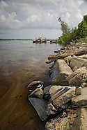 Oil on the river bank in Belle Chase from a <br /> Mississippi RIver Oil Spill 2008