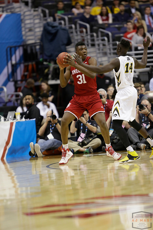 Indiana center Thomas Bryant (31) in action as Indiana played Iowa in an NCCA college basketball game in the second tournament in Washington, D.C., Thursday, March 9, 2017. (Photo by AJ Mast)