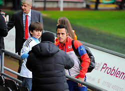 Referee, Phil Dowd Arsenal's Alexis Sanchez and Arsenal Manager, Arsene Wenger pose for photos  - Photo mandatory by-line: Joe Meredith/JMP - Mobile: 07966 386802 - 09/11/2014 - SPORT - Football - Swanswa - Liberty Stadium - Swansea City v Arsenal - Barclays Premier League