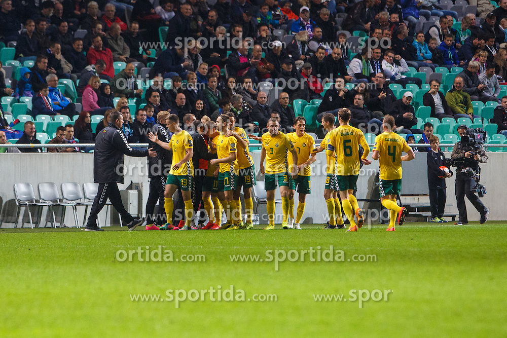 Players of Lithuania during the EURO 2016 Qualifier Group E match between Slovenia and Lithuania, on October 9, 2015 in SRC Stozice, Ljubljana Slovenia. Photo by Grega Valancic / Sportida