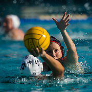 11 February 2018: The San Diego State  women's water polo team competes in day two of the Triton Invitation on the campus of UCSD. San Diego State Aztecs utility Lizzy Bilz (16) defends CSUN Matadors Katelyn Fairchild (5) in the second quarter. The Aztecs took on the #23 CSUN Matadors Sunday morning and came away with a 8-5 win.<br /> More game action at www.sdsuaztecphotos.com
