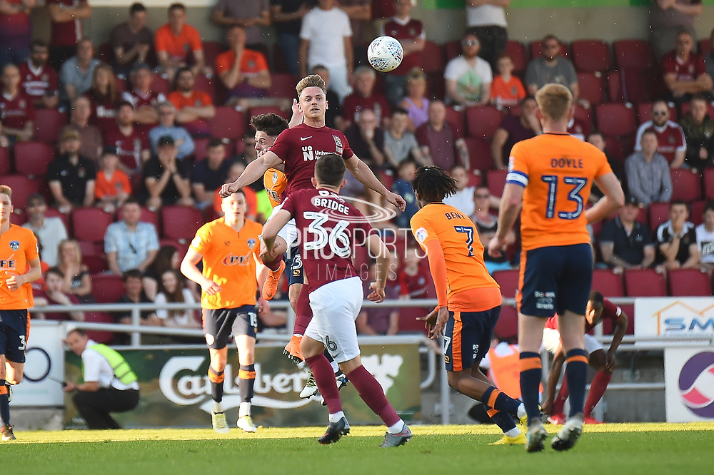 Northampton Town striker Sam Hoskins (14) on defensive duties  during the EFL Sky Bet League 1 match between Northampton Town and Oldham Athletic at Sixfields Stadium, Northampton, England on 5 May 2018. Picture by Dennis Goodwin.