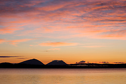 Dawn on Moosehead Lake in Rockwood, Maine.  Big and Little Spencer Mountains are in the distsance.