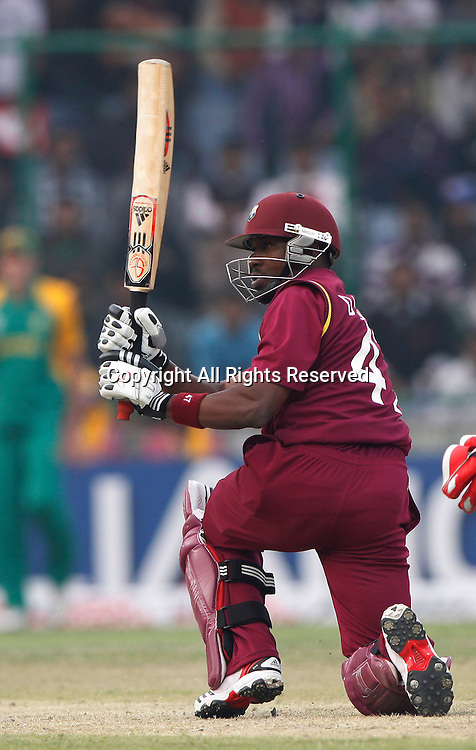 24.02.2011 Cricket World Cup from the Feroz Shah Kotla stadium in Delhi. South Africa v West Indies. Darren Bravo of West Indies plays a shot during the match of the ICC Cricket World Cup between South Africa and West Indies.