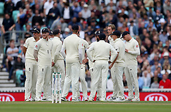 England's Stuart Broad after taking the wicket of India's Shikhar Dhawan (not in picture) for an lbw during the test match at The Kia Oval, London.