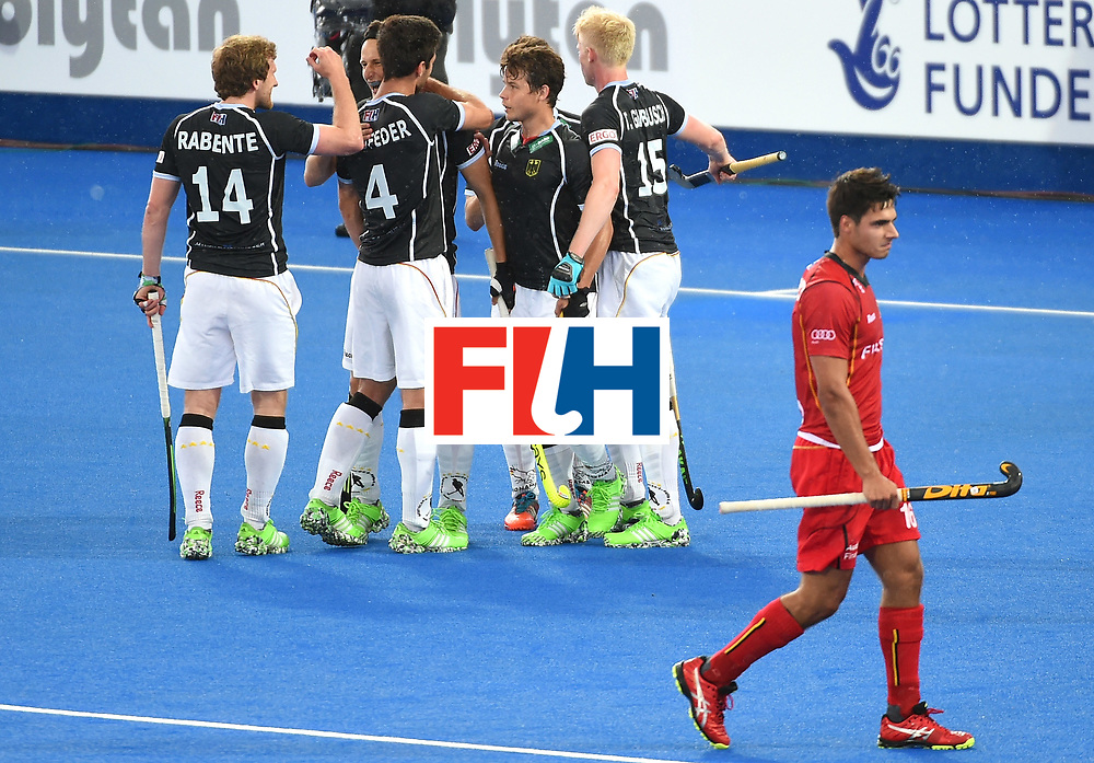 LONDON, ENGLAND - JUNE 11:  Marco Miltkau (2nd L) celebrtes scoring for Germany during day two of the FIH Men's Hero Hockey Champions Trophy 2016 match between Germany and Belgium at Queen Elizabeth Olympic Park on June 11, 2016 in London, England.  (Photo by Tom Dulat/Getty Images)