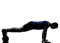 man exercising push ups workout fitness aerobics posture in silhouette studio isolated on white background