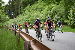 Lisa Klein (GER) and Elena Cecchini (ITA) talk tactics on the front of the bunch on the long descent at Lotto Thüringen Ladies Tour 2019 - Stage 4, a 114.8 km road race in Gotha, Germany on May 31, 2019. Photo by Sean Robinson/velofocus.com