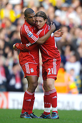 LIVERPOOL, ENGLAND - Saturday, January 26, 2008: Liverpool's Lucas Levia celebrates scoring the first equalisers against Havant and Waterlooville with team-mate Ryan Babel during the FA Cup 4th Round match at Anfield. (Photo by David Rawcliffe/Propaganda)