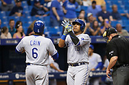 May 9, 2017 - St. Petersburg, Florida, U.S. - WILL VRAGOVIC   |   Times.Kansas City Royals catcher Salvador Perez (13) crosses the plate after his two run home run in the sixth inning of the game between the Kansas City Royals and the Tampa Bay Rays at Tropicana Field in St. Petersburg, Fla. on Tuesday, May 9, 2017. (Credit Image: © Will Vragovic/Tampa Bay Times via ZUMA Wire)