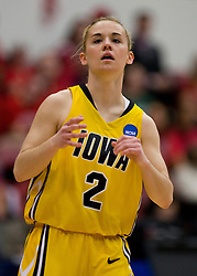 March 20, 2010; Stanford, CA, USA; Iowa Hawkeyes guard Kamille Wahlin (2) during the first half against the Rutgers Scarlet Knights in the first round of the 2010 NCAA womens basketball tournament at Maples Pavilion.  Iowa defeated Rutgers 70-63.