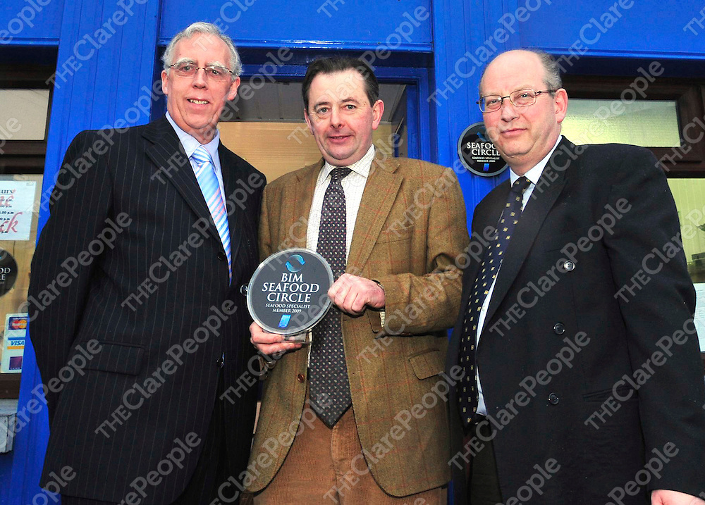 At the presentation of Bord Iascaigh Mhara (BIM) Seafood Circle plaque to Ennis fishmongers Rene Cusack  were Minister of State Tony Killeen , Paul Cusack and John Hackett, BIM.