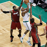 07 June 2012: Boston Celtics small forward Paul Pierce (34) takes a jumpshot over Miami Heat power forward Chris Bosh (1) during second half of Game 6 of the Eastern Conference Finals playoff series, Heat at Celtics at the TD Banknorth Garden, Boston, Massachusetts, USA.