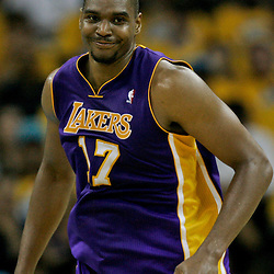 April 22, 2011; New Orleans, LA, USA; Los Angeles Lakers center Andrew Bynum (17) against the New Orleans Hornets during the second quarter in game three of the first round of the 2011 NBA playoffs at the New Orleans Arena.    Mandatory Credit: Derick E. Hingle