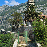 St. Matthew's Church in Dobrota, Montenegro<br /> These steps lead up from the waterfront to the Church of St. Matthew's.  This Baroque Catholic church was built in 1670.  Crkva SV Mateja has an impressive steeple and dome for a town the size of Dobrota.