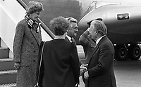 Australian Prime Minister Robert Hawke on arrival at Dublin Airport with Taoiseach Charles Haughey, Mrs Haughey and Mrs Hawke, 18/10/1987 (Part of the Independent Newspapers Ireland/NLI Collection).