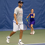 August 25, 2016, New Haven, Connecticut: <br /> James Blake participates in a pro-am tournament during the Men's Legends Event on Day 7 of the 2016 Connecticut Open at the Yale University Tennis Center on Thursday, August  25, 2016 in New Haven, Connecticut. <br /> (Photo by Billie Weiss/Connecticut Open)