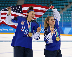 February 22, 2018 - Gangneung, South Korea - (L-R) MEGAN KELLER and DANI CAMERANESI celebrate with the USA team after winning the Ice Hockey: Women's Gold Medal Game against Canada at Gangneung Hockey Centre during the 2018 Pyeongchang Winter Olympic Games.  (Credit Image: © Jon Gaede via ZUMA Wire)