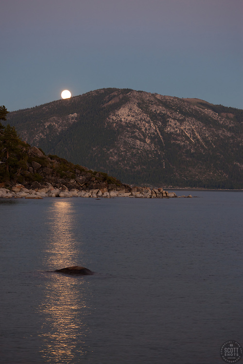 """Full Moon over Lake Tahoe 5"" - This rising full moon was photographed at sunset from Speed Boat Beach, Lake Tahoe."